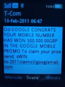 SMS från Google Mobile PROMO